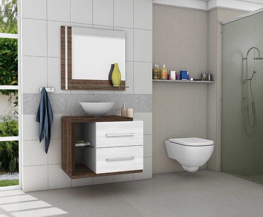 Gabinete Armário Para Banheiro Com Pia Milão Brancoavelã  R$ 459,90 em Merc -> Armario De Banheiro Com Chave