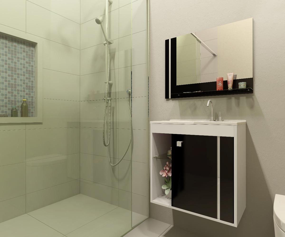 Gabinete Armário Para Banheiro Com Pia Veneza Brancopreto  R$ 299,90 em Mer -> Armario Banheiro Lindo