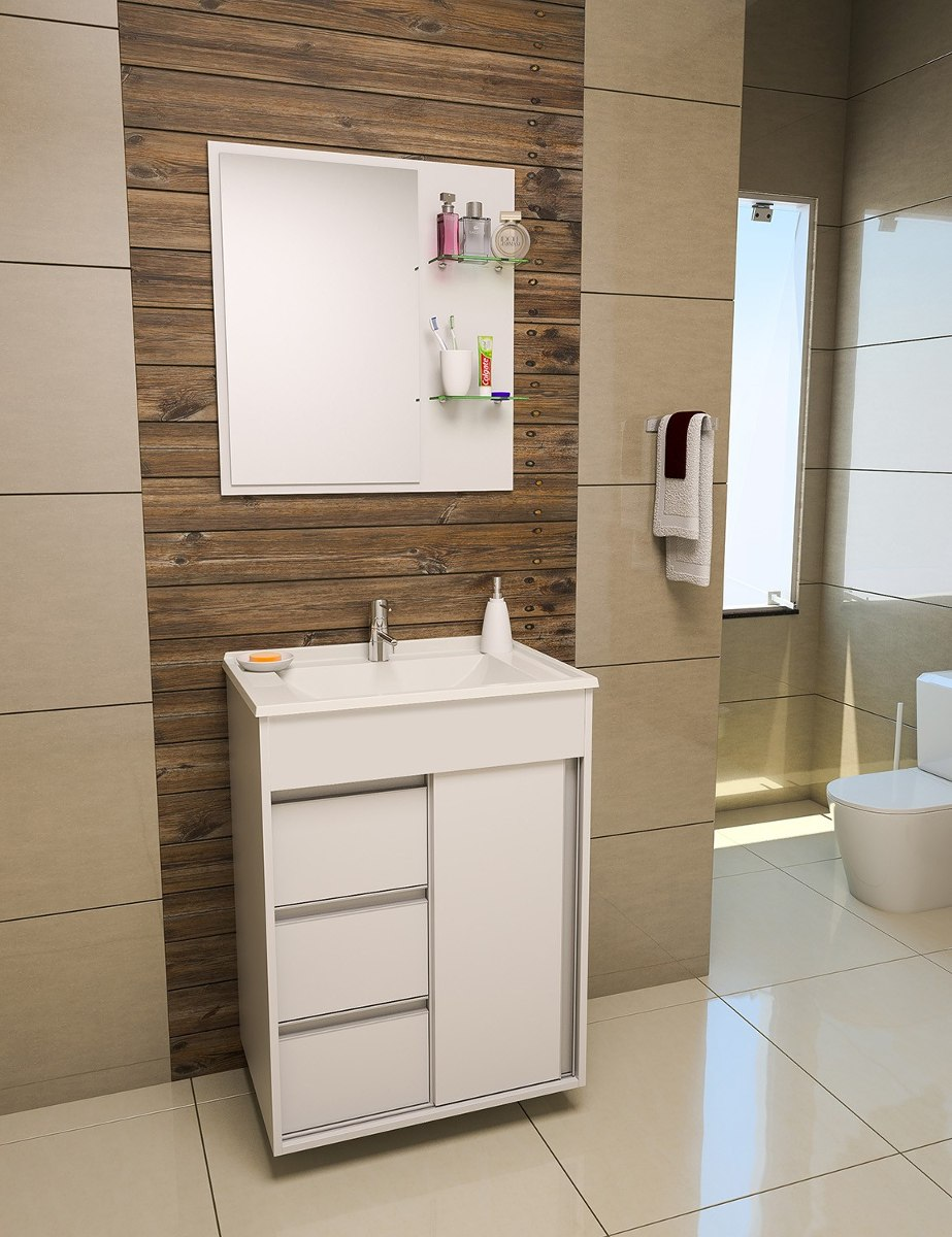 Gabinete  Armário Para Banheiro Fit Perfect 60 Cm  R$ 429,90 em Mercado Livre -> Como Fazer Um Armario De Banheiro De Mdf