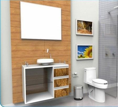 gabinete / armário para banheiro lisboa 80 alto padrão