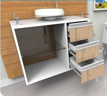 gabinete / armário para banheiro lisboa 80 cm alto padrão