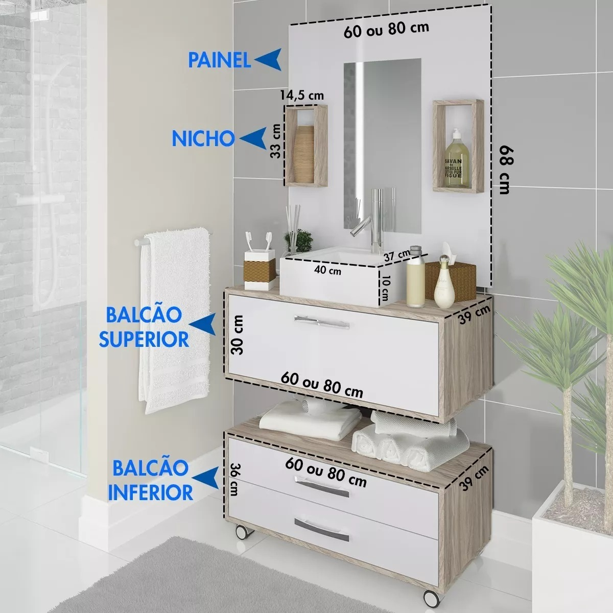 Gabinete Balcão Armário Banheiro C Cuba Painel Frete Grátis