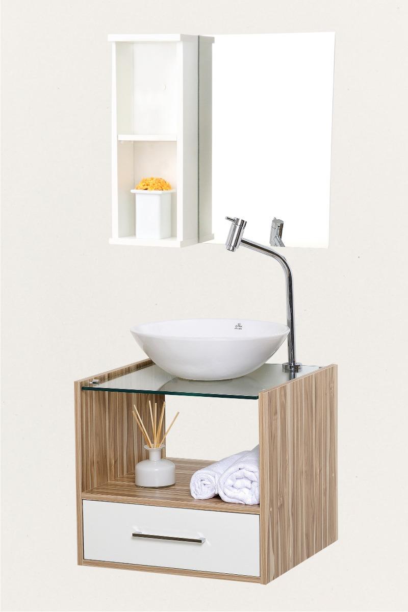 Gabinete Banheiro 50x45cm Com Cuba Em Louça E Espelho  R$ 599,99 em Mercado -> Gabinete Para Banheiro Branco Com Cuba