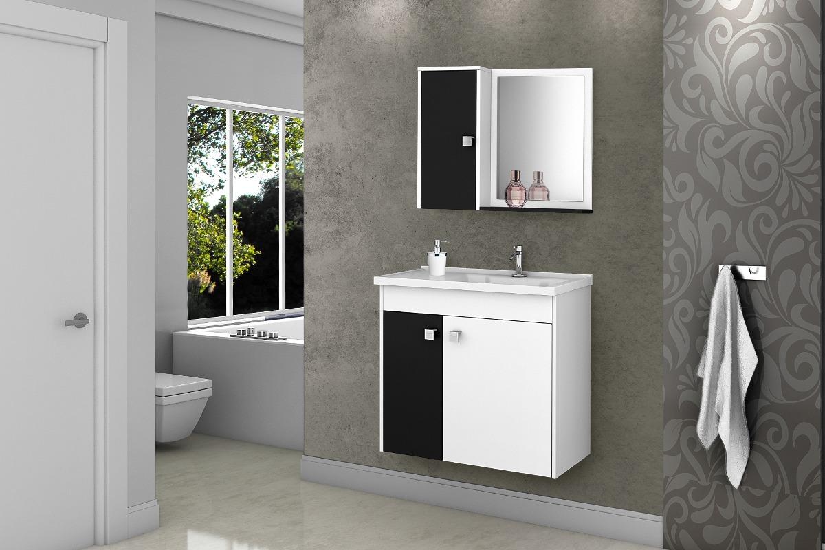 Gabinete Banheiro Com Pia Munique Brancopreto