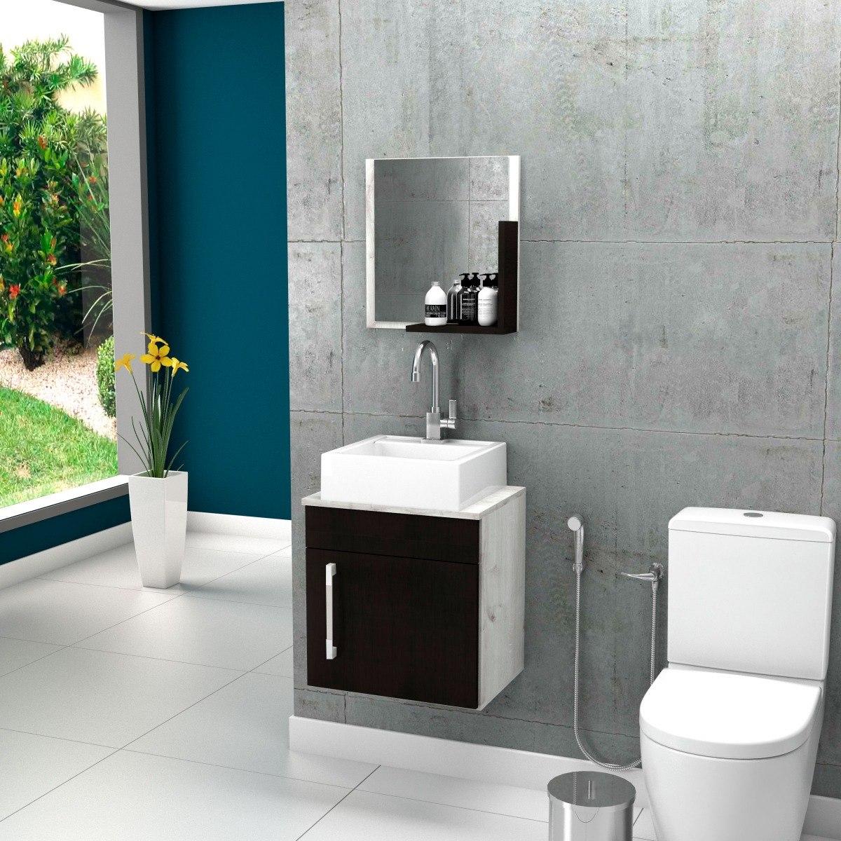 Gabinete Banheiro Liz 45cm Ccuba Q32 E Espelho Frete Grátis