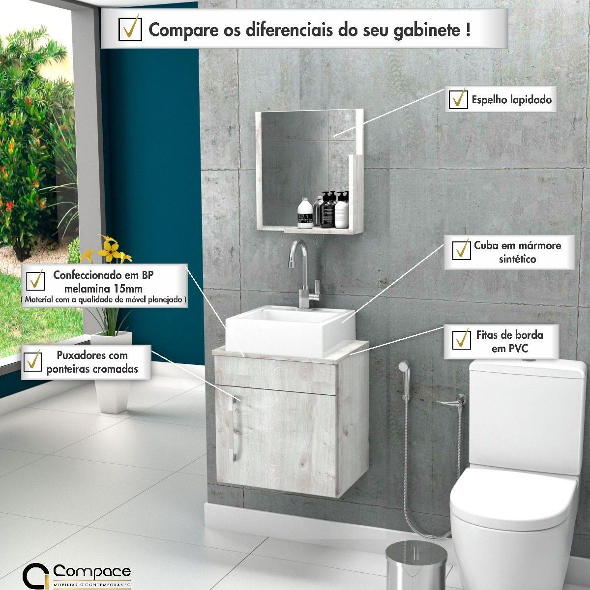 Gabinete Banheiro Liz 45cmcuba Q32espelheira Frete Grátis