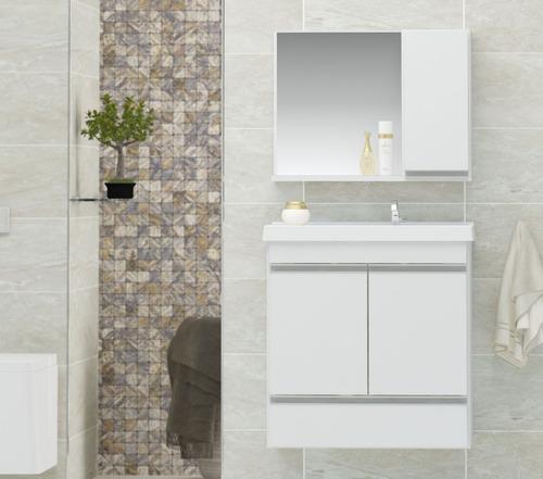 gabinete banheiro + pia + espelheira fox 60cm
