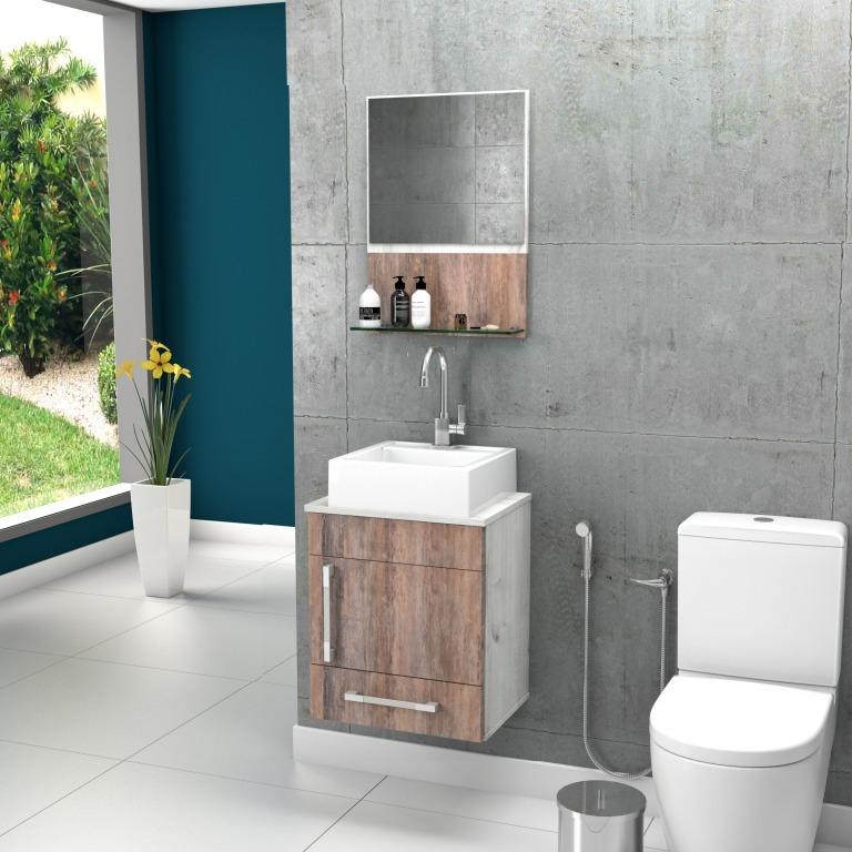 Gabinete Banheiro Prisma 45cm Cuba Q32espelho Frete Grátis