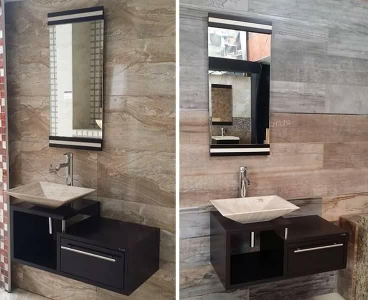 Gabinete Baño Moderno Con Espejo Para Sobre Poner Lavamanos - Bs ...