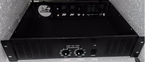 gabinete caixa para amplificador c/ botoes da frente e 4 xlr