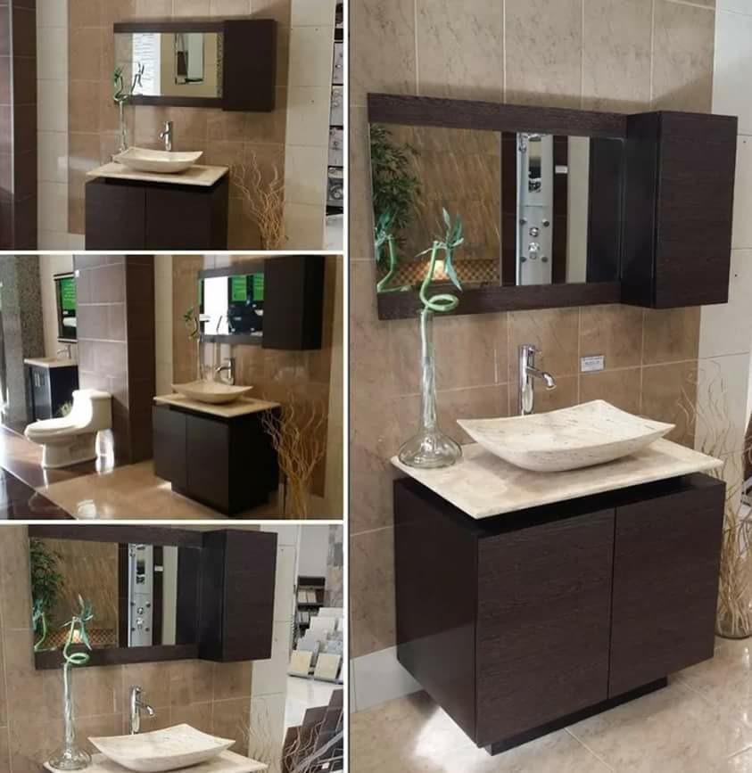Gabinete de ba o moderno c espejo para sobre poner for Gabinete de almacenamiento de bano de madera