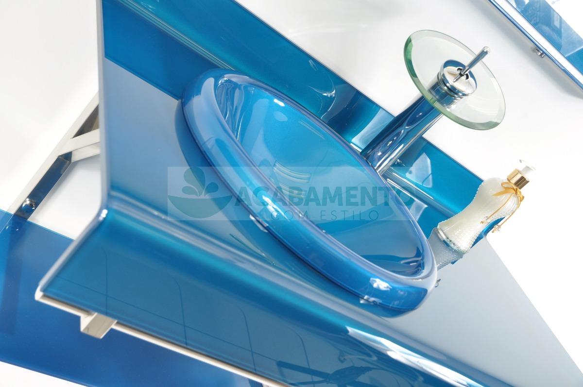 Gabinete De Vidro 90 Cm Banheiro Azul Royal  R$ 999,00 em Mercado Livre -> Gabinete De Banheiro Azul