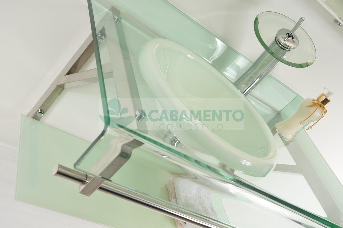 Gabinete De Vidro 90 Cm Banheiro Branco  R$ 999,00 em Mercado Livre -> Armario Para Banheiro De Vidro Mercadolivre
