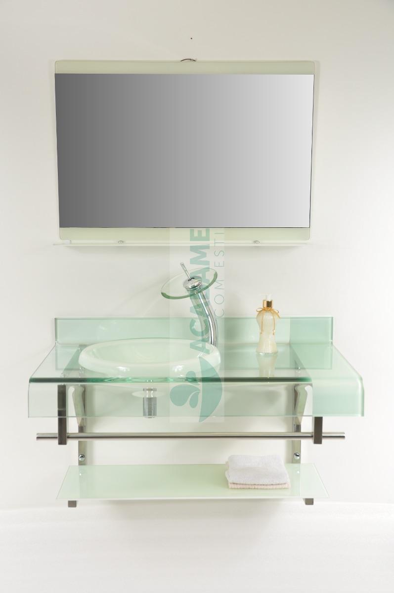 Gabinete De Vidro 90 Cm Banheiro Branco  R$ 999,00 em Mercado Livre -> Gabinete De Banheiro Vidro