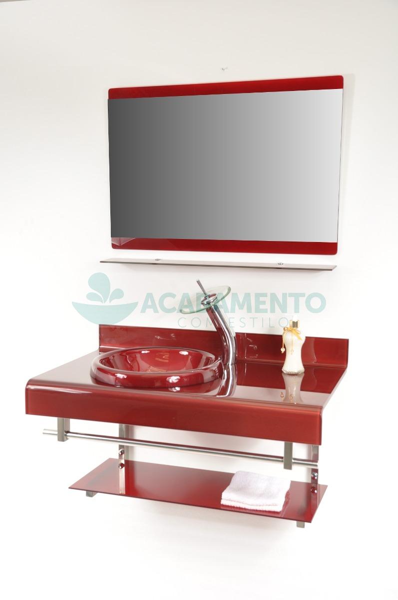 Gabinete De Vidro 90 Cm Banheiro Vermelho Vinho  R$ 999,00 em Mercado Livre -> Pia De Banheiro Vermelha