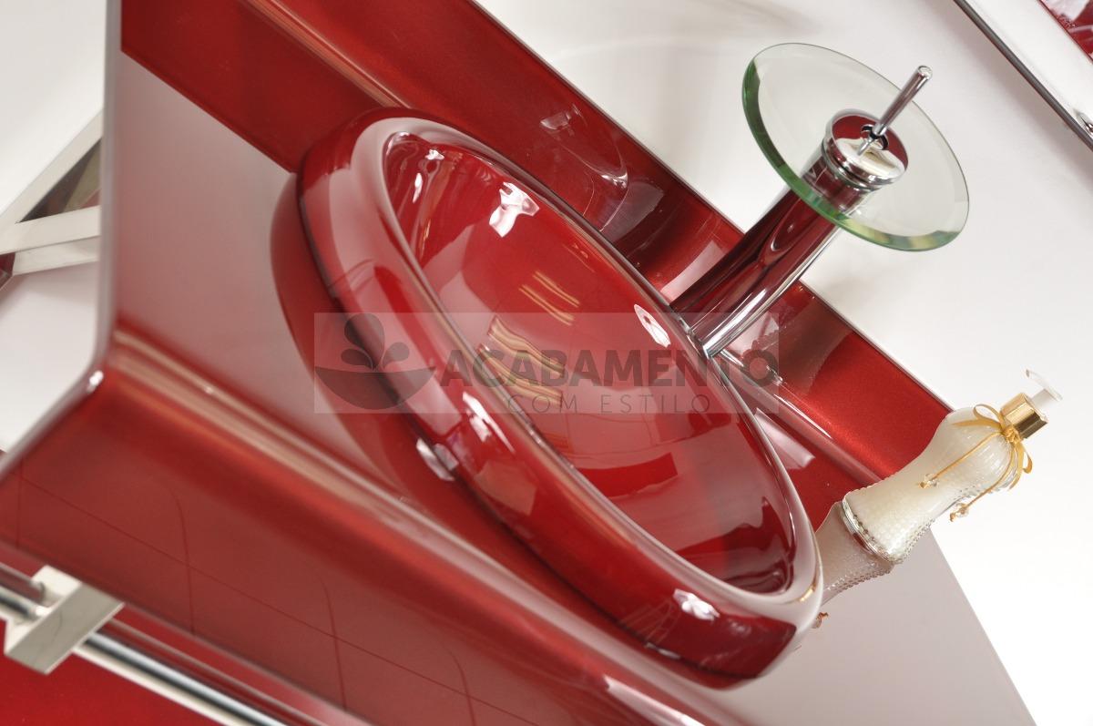 Gabinete De Vidro 90 Cm Banheiro Vermelho Vinho  R$ 999,00 em Mercado Livre -> Armario De Banheiro Vinho