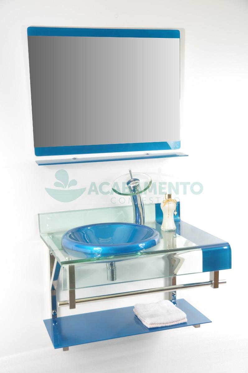 Gabinete De Vidro Banheiro 70cm Azul Royal  R$ 899,00 em Mercado Livre -> Gabinete De Banheiro Azul