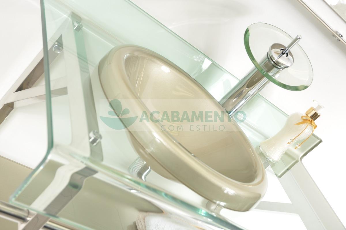 Gabinete De Vidro Banheiro 90 Cm Bege  R$ 999,00 em Mercado Livre -> Armario Para Banheiro De Vidro Mercadolivre