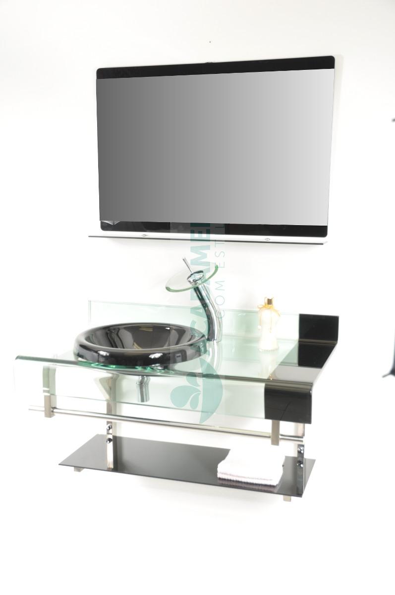 Gabinete De Vidro Banheiro 90 Cm Preto  R$ 849,00 em Mercado Livre -> Armario Para Banheiro De Vidro Mercadolivre