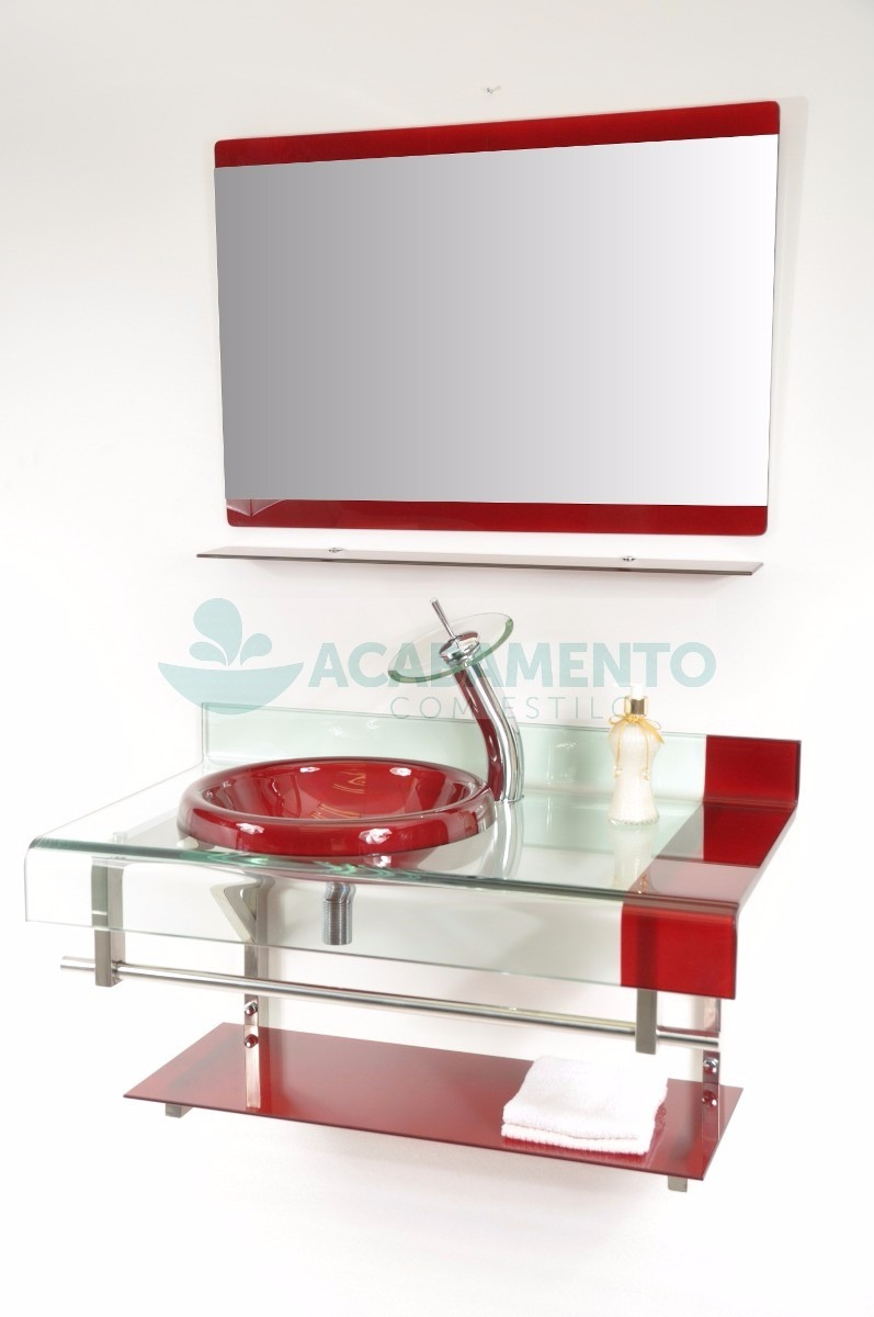 Gabinete De Vidro Banheiro 90 Cm Vermelho Vinho  R$ 849,00 em Mercado Livre -> Pia De Banheiro Em Blindex