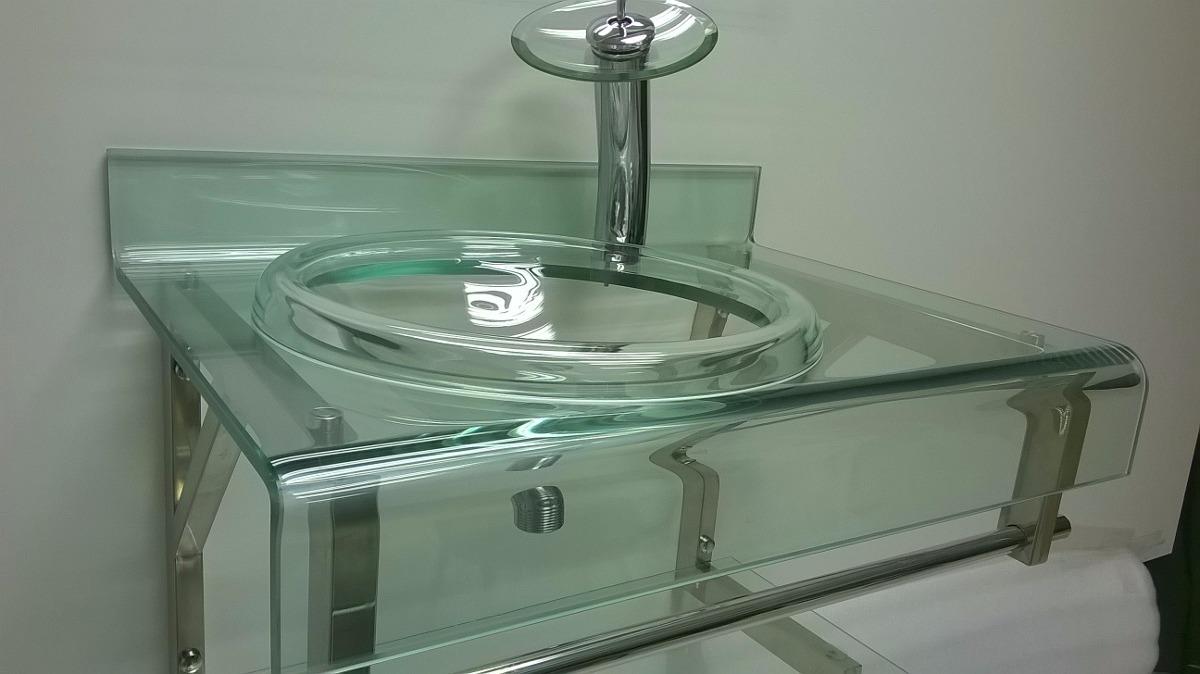 Gabinete De Vidro Incolor Para Banheiro De 70cm  R$ 879,00 em Mercado Livre -> Banheiro Decorado Com Gabinete De Vidro