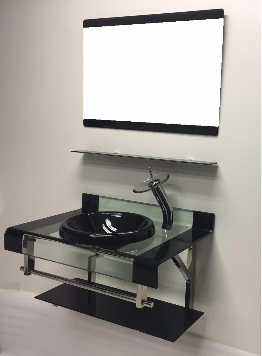 Gabinete De Vidro Para Banheiro Dupla Faixa 80cm Preto  R$ 949,00 em Mercado -> Gabinete De Banheiro Vidro