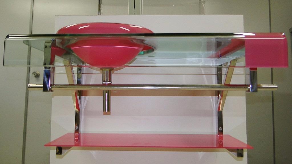 Gabinete De Vidro Rosa Pbanheiro  Com Espelho  90cm  R$ 999,00 em Mercado -> Cuba Para Banheiro Roxa