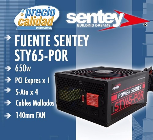 gabinete deluxe serie sentey ds1 4243 c/fuente 650w usb x 4