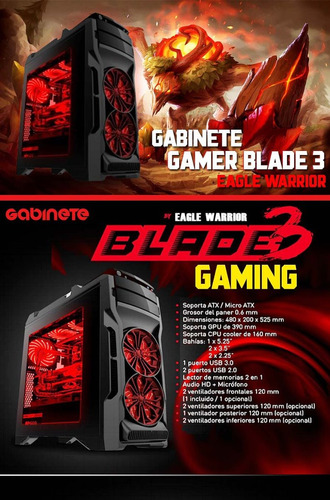 gabinete eagle warrior gamer blade 3 rojo atx matx led fan
