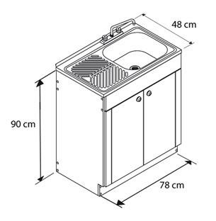 Gabinete fregadero para fregadero de sobreponer de 80cm for Altura desague fregadero