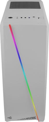 gabinete gamer aerocool cylon blanco rgb con ventana atx