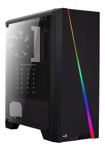 gabinete gamer aerocool cylon negro rgb con ventana atx