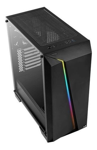 gabinete gamer aerocool cylon pro negro rgb cristal templado