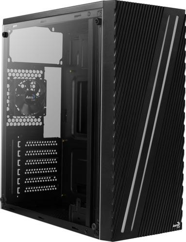 gabinete gamer aerocool streak negro con ventana rgb atx