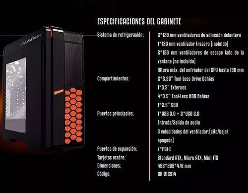 gabinete gamer balam rush ventana negro naranja br-912914