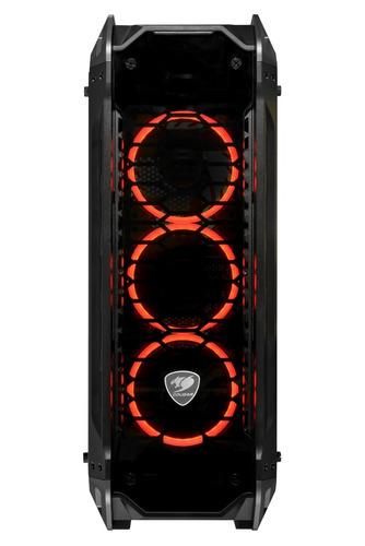 gabinete gamer cristal templado cougar panzer g led naranja