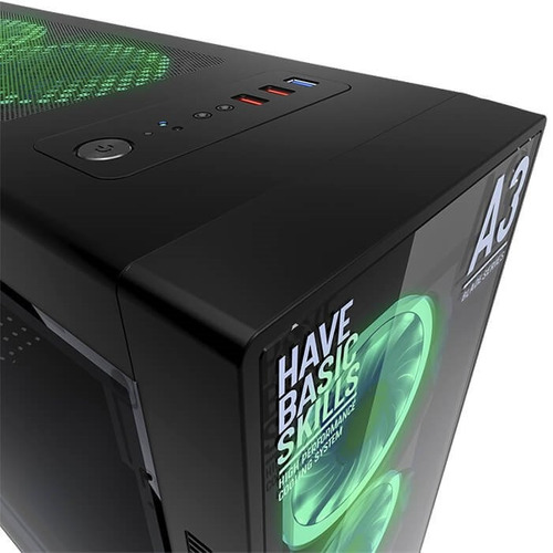 gabinete gamer eagle warrior a3 blade verde ventilador led