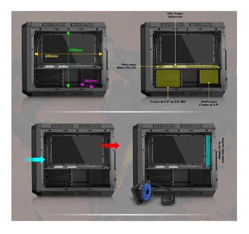 gabinete gamer k-mex cg-01rc microcraft 01 fan led azul