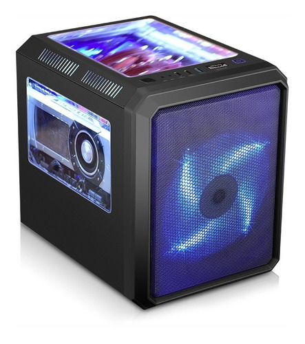 gabinete gamer k-mex cg-01rc microcraft 01 fan led azul