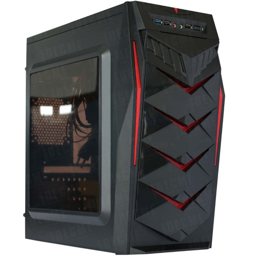 gabinete gamer kmex mustang 450w atx cgmustang01kmx rojo