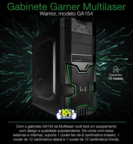 gabinete gamer multilaser warrior para pc ga154 oferta loi