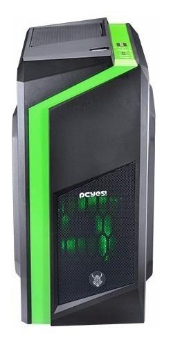 gabinete gamer pcyes dwarf verde - 12x sem juros