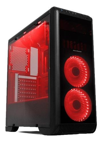 gabinete gamer tornado vermelho - usb 3.0 - com 2 fan led