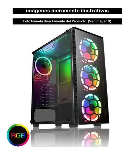 gabinete gamer z10 acrilico y cristal transparente 4 fan rgb