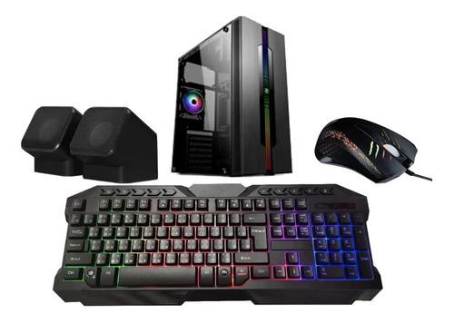 gabinete kit gamer azza fuente 350w mouse teclado parlantes