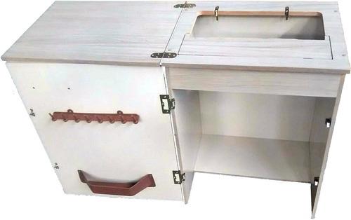 gabinete máquina costura doméstica elgin zig zag super