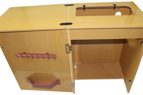 gabinete máquina de costura doméstica elgin zig zag super