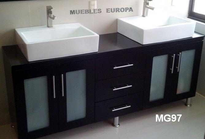 Gabinete mueble para ba o doble lavabo ovalin moderno for Muebles de bano de diseno modernos