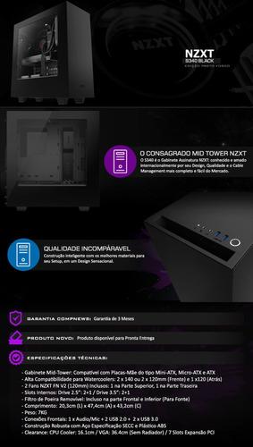 gabinete nzxt s340 black edition, ca-s340w-b1, novo