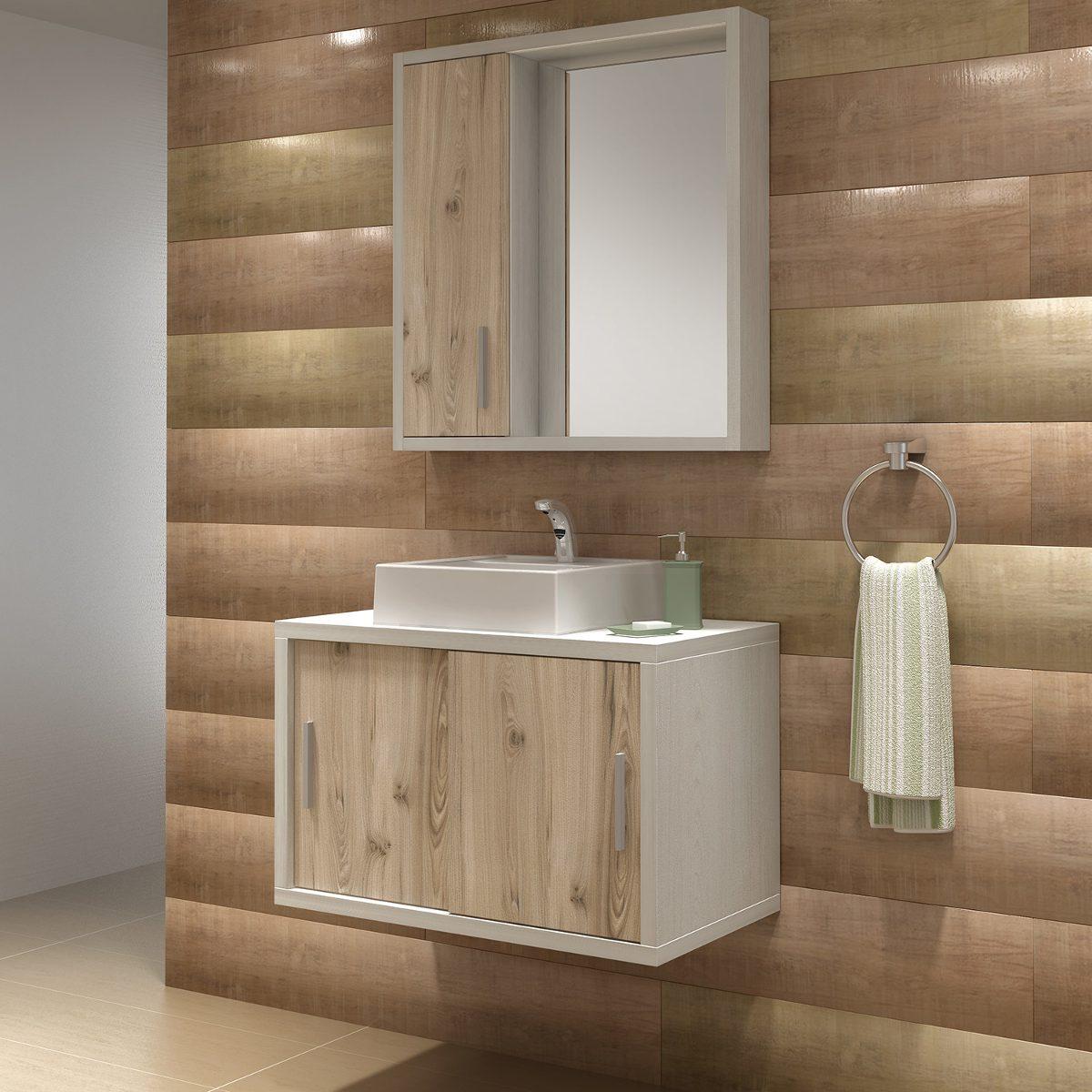 Gabinete Para Banheiro Com Espelheira Balcony Qatar 80 Cuba  R$ 948,60 em Me -> Cuba Banheiro Amoedo